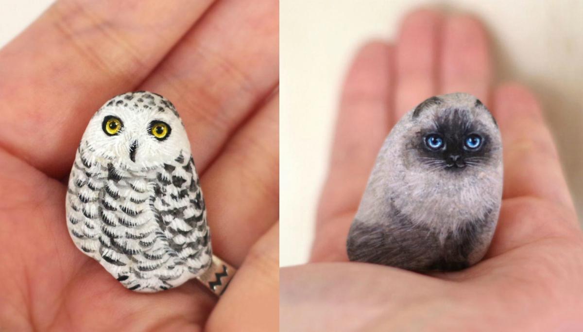 Нестандартное творчество: художница оживляет камни при помощи красок