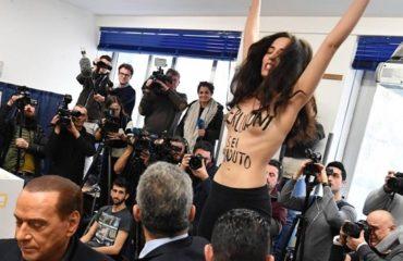 Скандал на выборах в Италии: активистка Femen обнажила грудь перед Берлускони