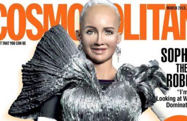 Обложку глянцевого журнала впервые украсила модель-робот