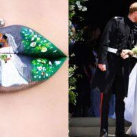 Визажист нарисовала портрет принца Гарри и Меган Маркл на губах
