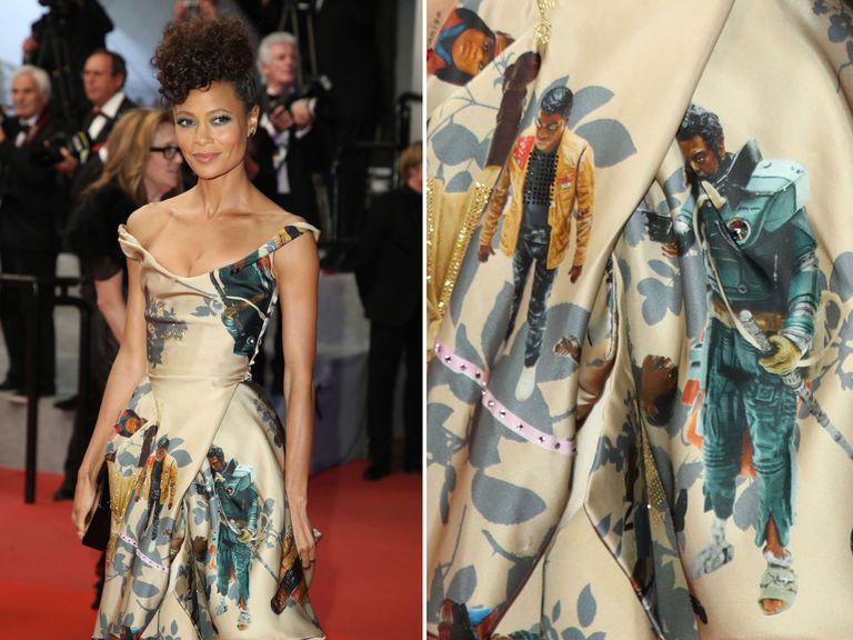 """Для красной дорожки в Каннах актриса Тэнди Ньютон выбрала платье с персонажами из """"Звездных войн"""""""
