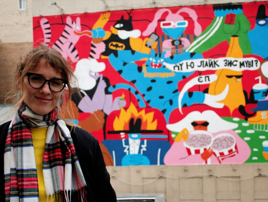 Месседж свободы: на Майдане Независимости появился мурал от литовской художницы