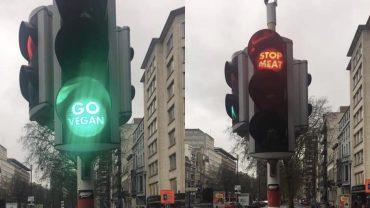 Бельгийские светофоры призывают людей переходить на веганство