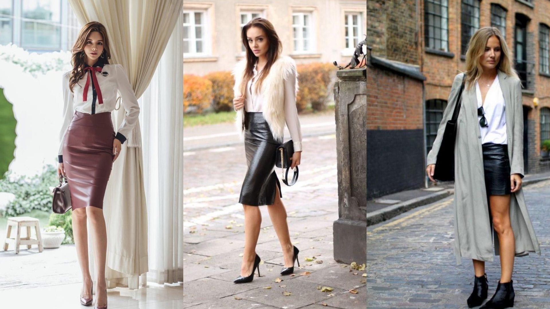 50ef37d83 С чем носить кожаную юбку: модные образы на каждый день - LeMonade