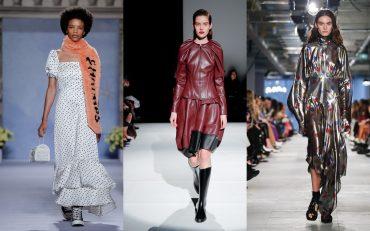 Декольте, бабочки и кроссовки: на неделе моды в Лондоне показали самые яркие платья
