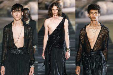 Узкие брюки и приталенные костюмы: в Малибу прошел показ мужской коллекции от Saint Laurent