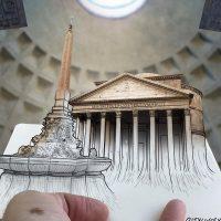 Игры разума: итальянец создает необычные эскизы с известными памятками