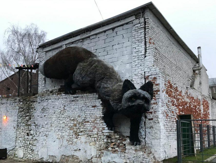 """В Риге """"поселилась"""" гигантская чернобурая лисица"""